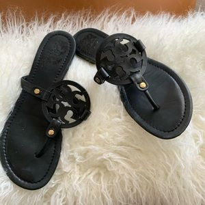 Tory Burch Miller leather black thong sandals